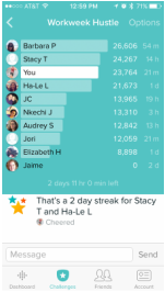 Workweek Hustle screen on fitbit